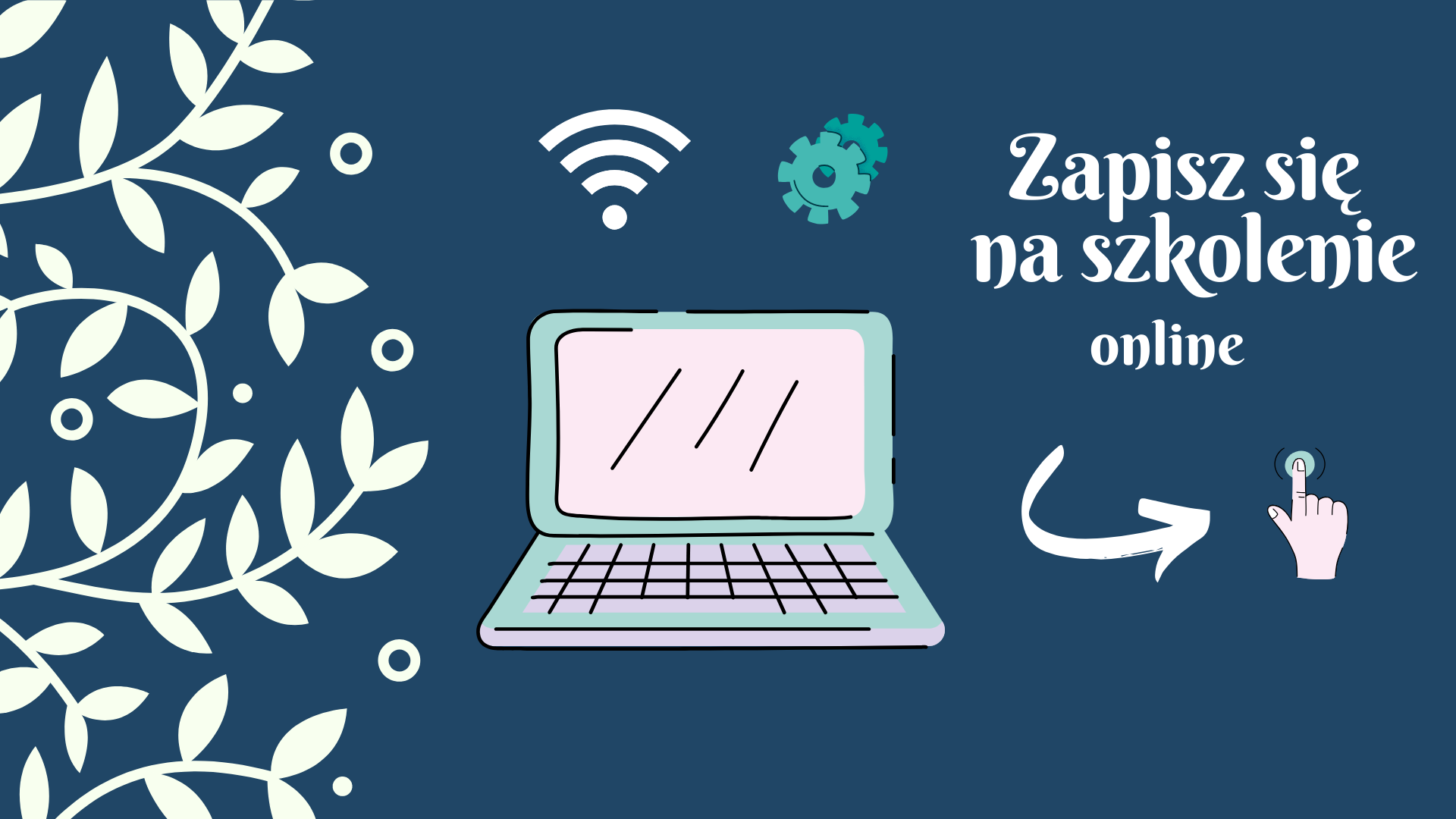 grafika zachęcająca do udziału w szkoleniu, widoczny laptop, symbol Wi-Fi oraz hasło Zapisz się na szkolenie online